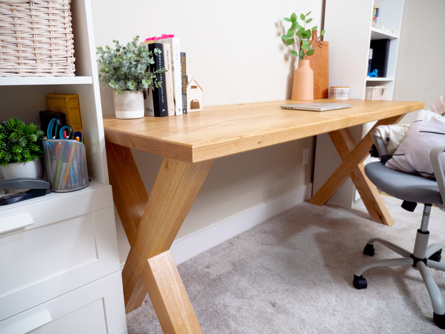 This is the finished solid ash desk that we made as a prototype.