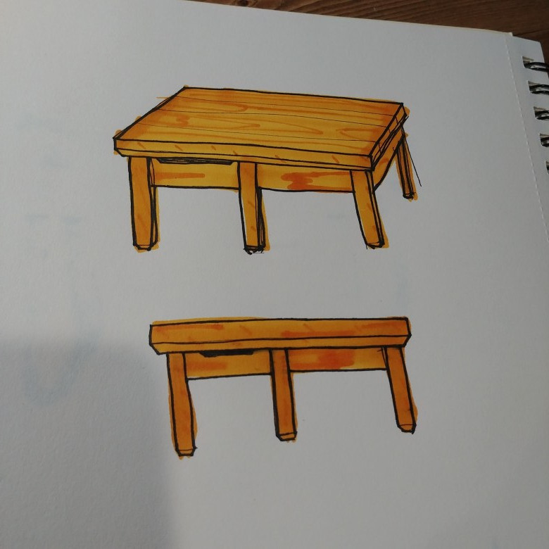 This is a coffee table we sketched for a client build.