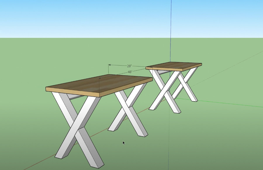 This was a design for a smaller version of the farmhouse modern desk that we started with.