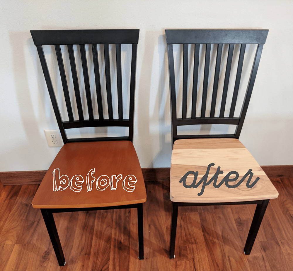 We used hickory glue-ups to create new kitchen chair seats. We kept the same IKEA chair bases and simply replaced the old tops with these new hickory ones.