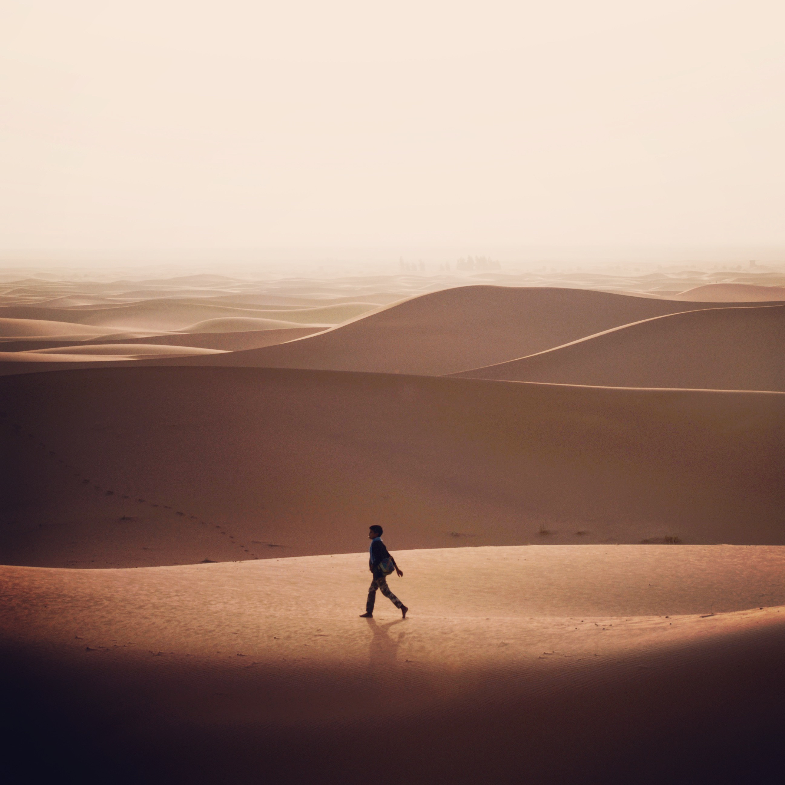 Young Boy in Desert Alone