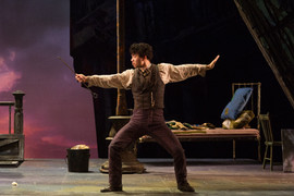 "La bohème The Glimmerglass Festival, 2016 Karli Cadel  ""Brian Vu plays Schaunard, the dancer.  Every time he enters, he grabs center stage, a true exhibitionist. In the boys' scene cavorting as dancers, he demonstrates he is the real thing. His is not just physical presence but vocal size and an irresistible ability to draw audiences into his character. His intelligent choices are seen throughout the production."" - DC Theatre Scene"