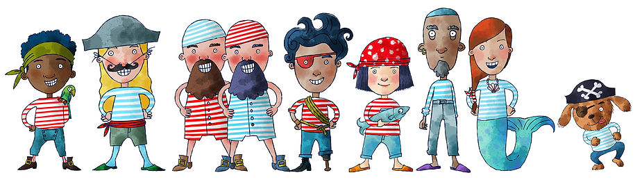 Mary Cousins illustration. Isle of Man. Cute character graphics. Crew. Funny. Children's illustration.Pirates.jpg