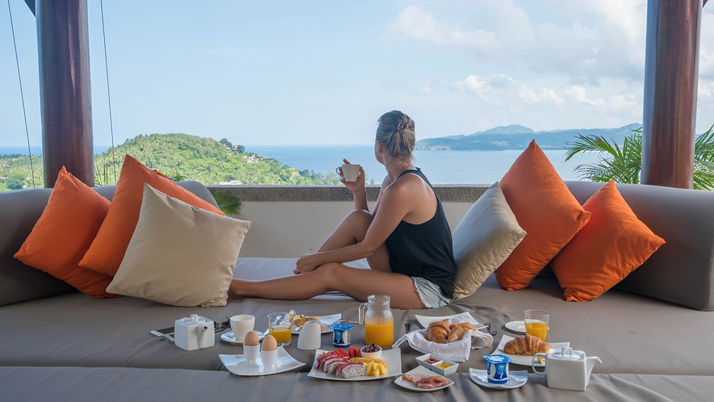 Breakfast on a rooftop in Phuket, Thailand