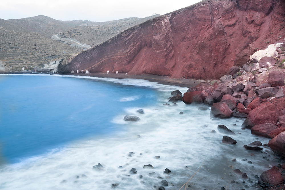 The Red cliffs of Red Beach Santorini
