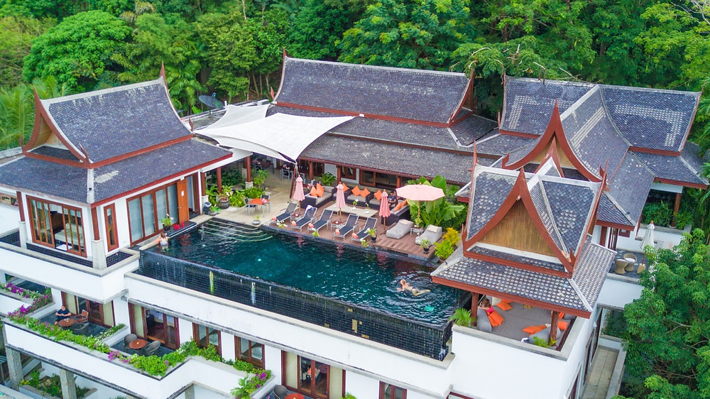 Swimming pool area on the rooftop of luxury villa in Phuket, Thailand