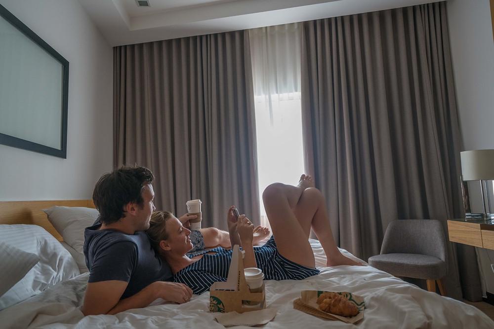 Starbucks in bed at ANSA Hotel KL