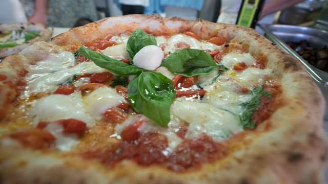 Buffalo mozzarella pizza at Antonio & Antonio Naples