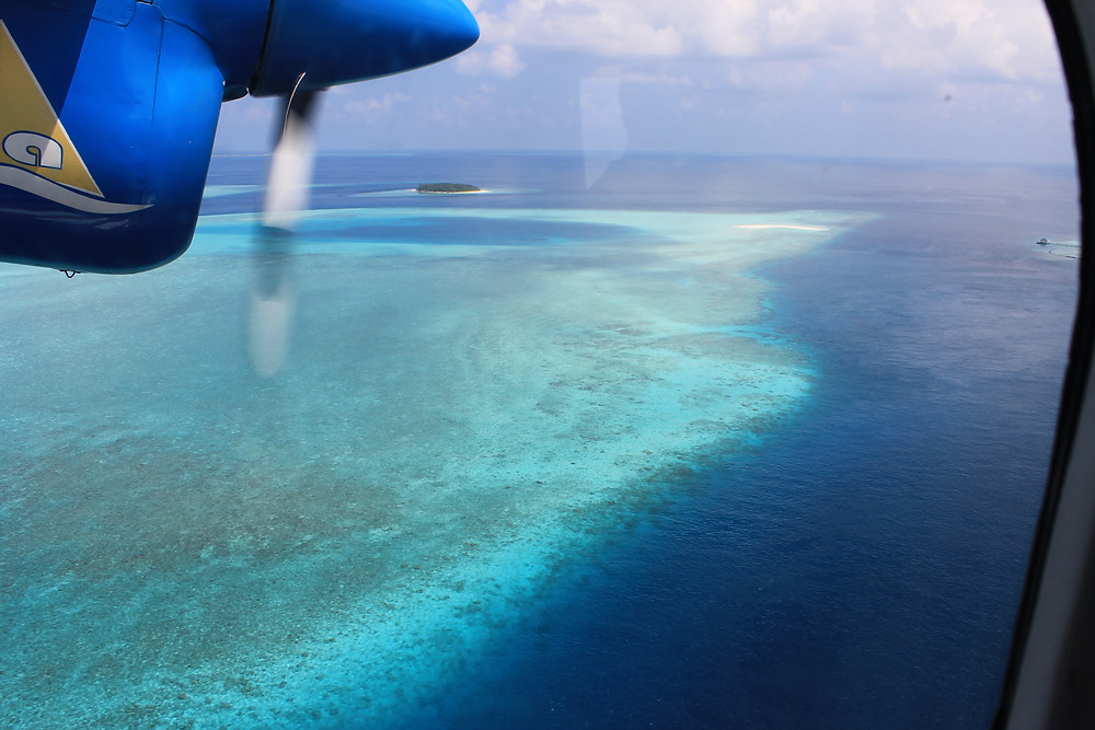 Maldives seaplane view window