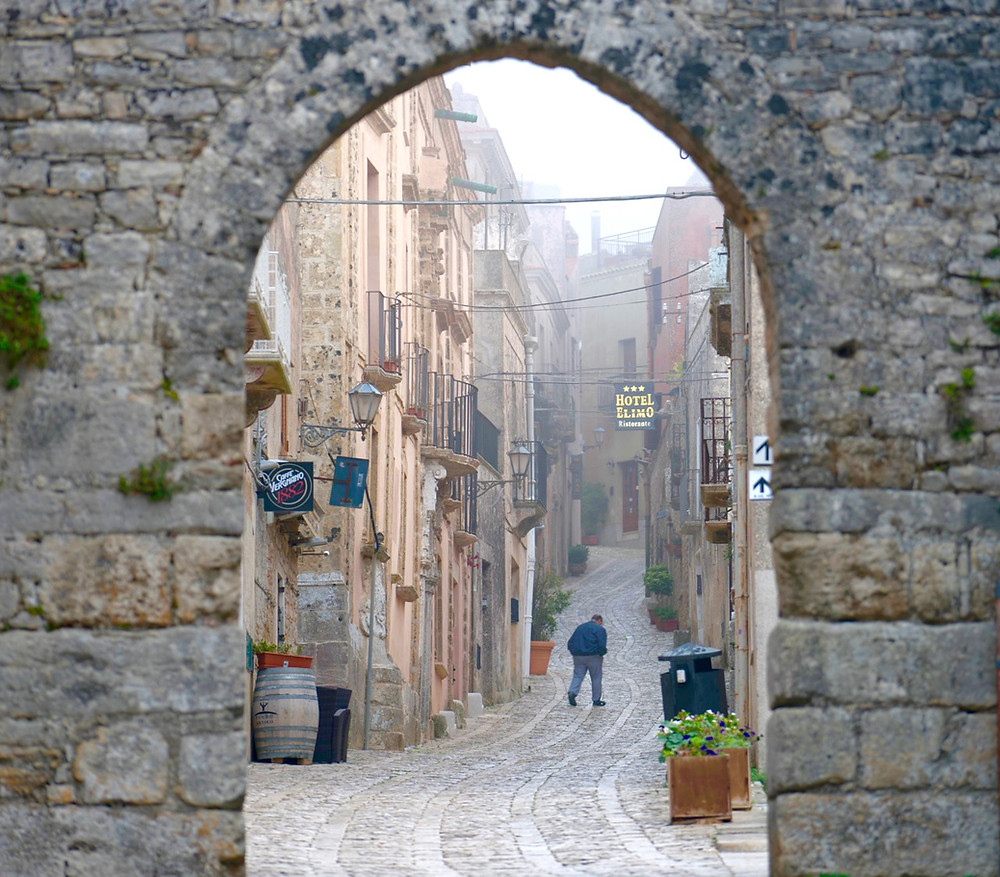 Erice Medieval town above Trapani in Fog