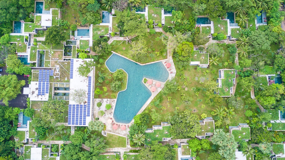 Aerial view of the Templation resort