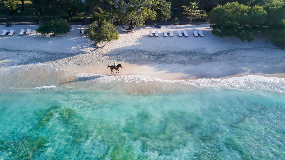 Horse riding on the Gili islands off Lombok in Indonsesia