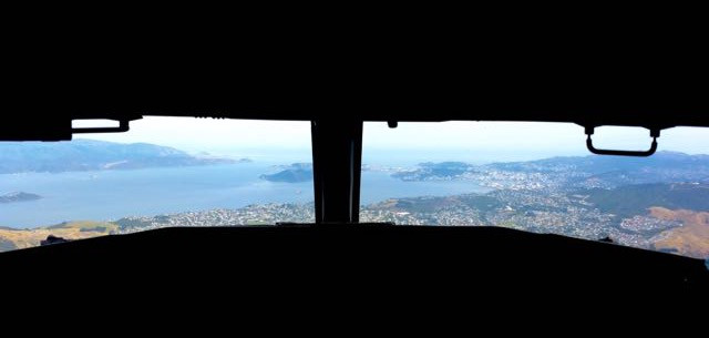 View of Wellington, New Zealand from Boeing 737-800 Aircraft