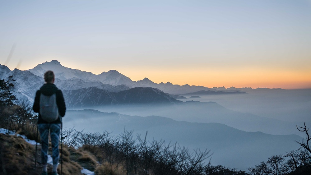 Sunrise at Muldai viewpoint in the Annapurna national park