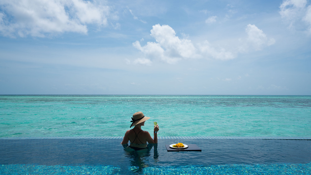 Infinity pool in an overwater bungalow