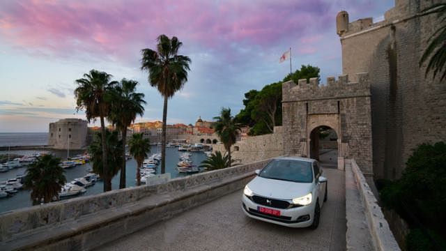 Car driving out of Dubrovnik castle