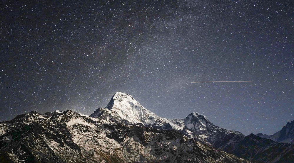 Night sky above Annapurna South from Dobato on the Khopra ridge trek