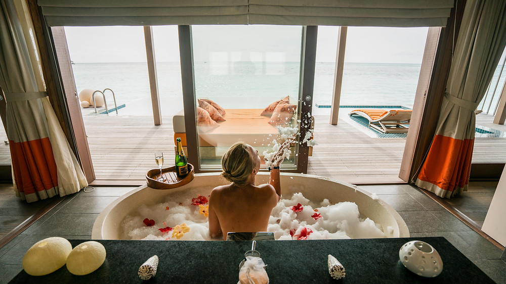 The bubble bath in an overwater villa