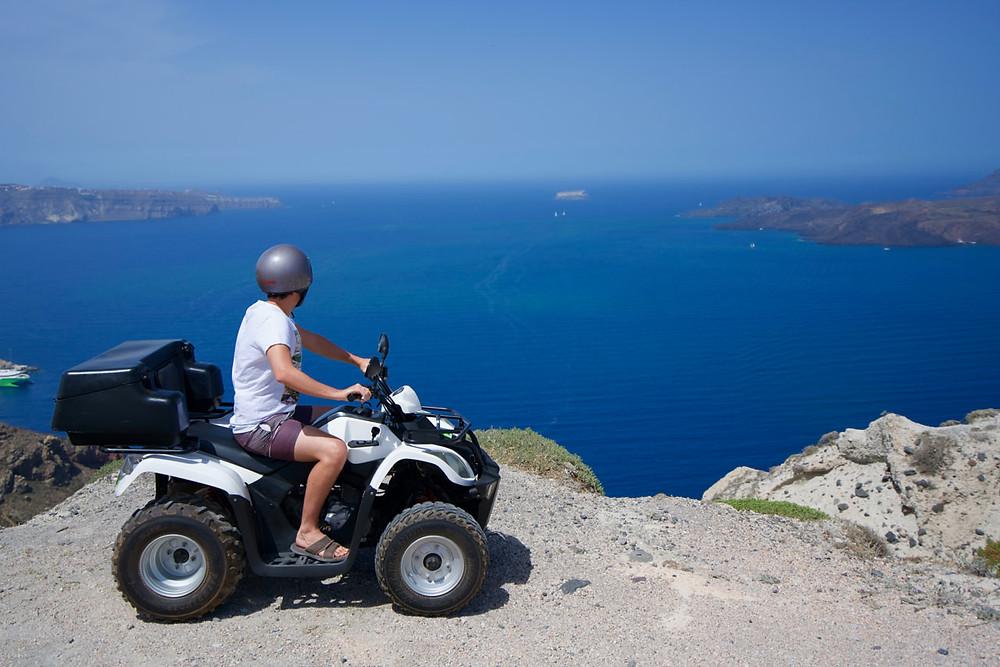 ATV touring the island of Santorini