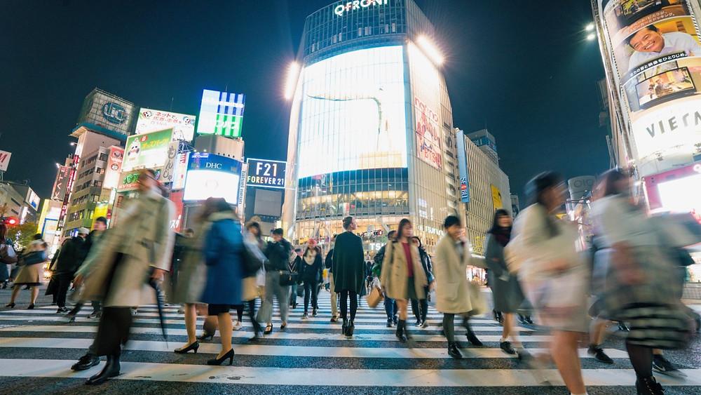 Shibuya crossing in Tokyo, the busiest pedestrian crossing in the world