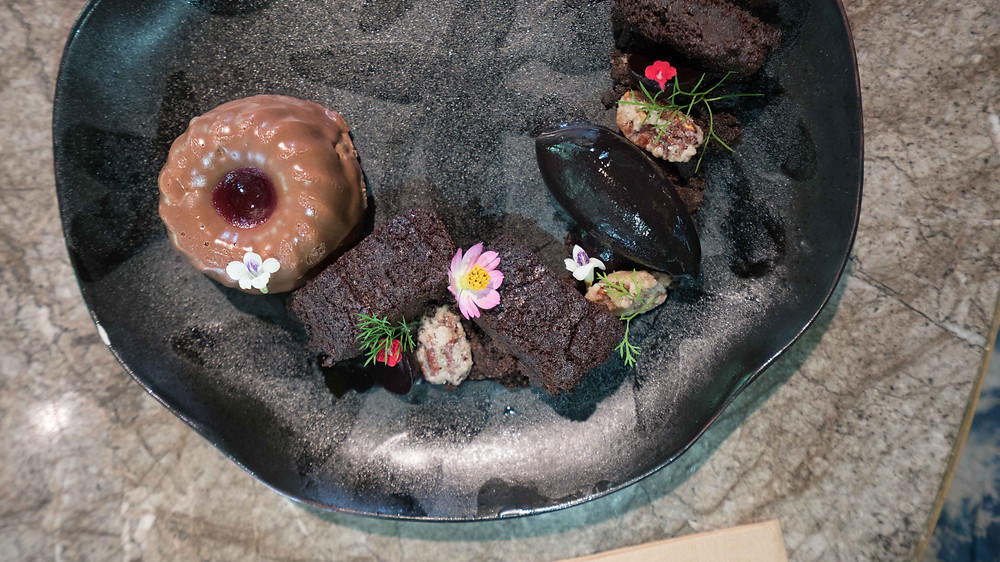 Sour cherry and chocolate dessert at Open Farm Community