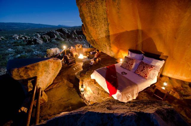 Open Air Honeymoon bedroom Kagga Kamma Resort, South Africa