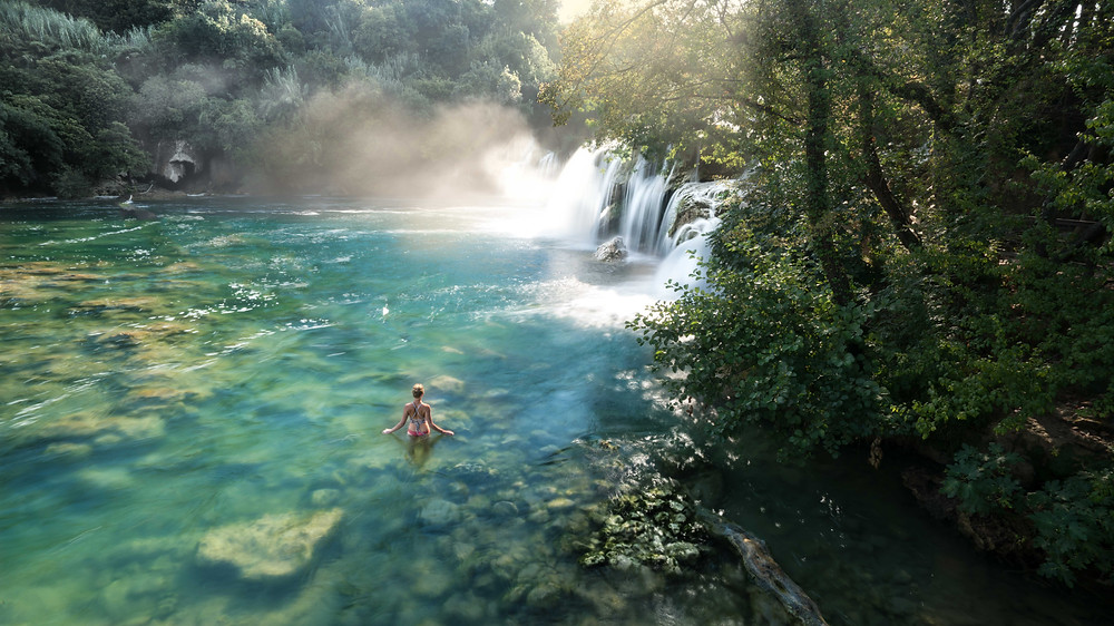 Swimming in waterfalls Plitvice National Park