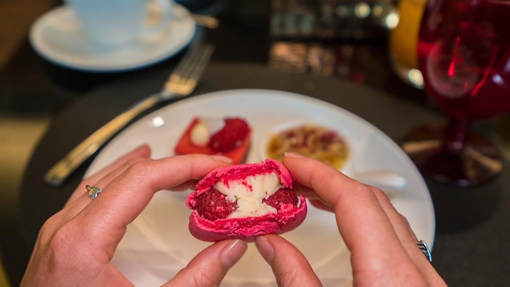 Incredible white chocolate and raspberry macaroon at Hotel Stripes