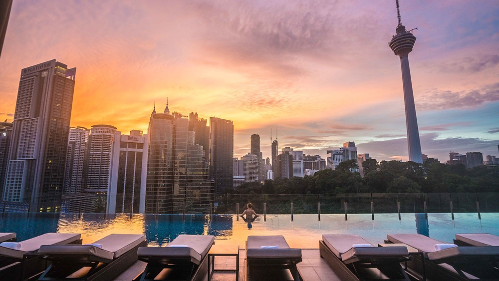 Rooftop pool view from hotel Stripes Autograph Collection Kuala Lumpur