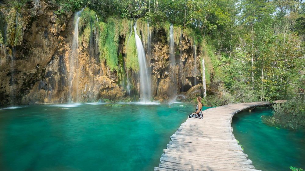 Watching waterfalls in Plitvice National Park