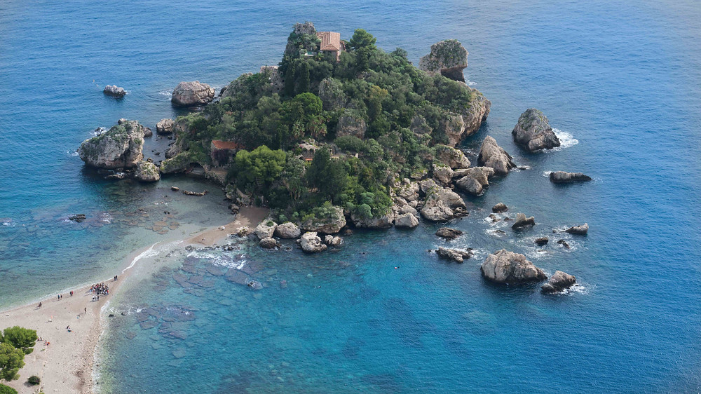 Aerial view of Isola Bella in Sicily