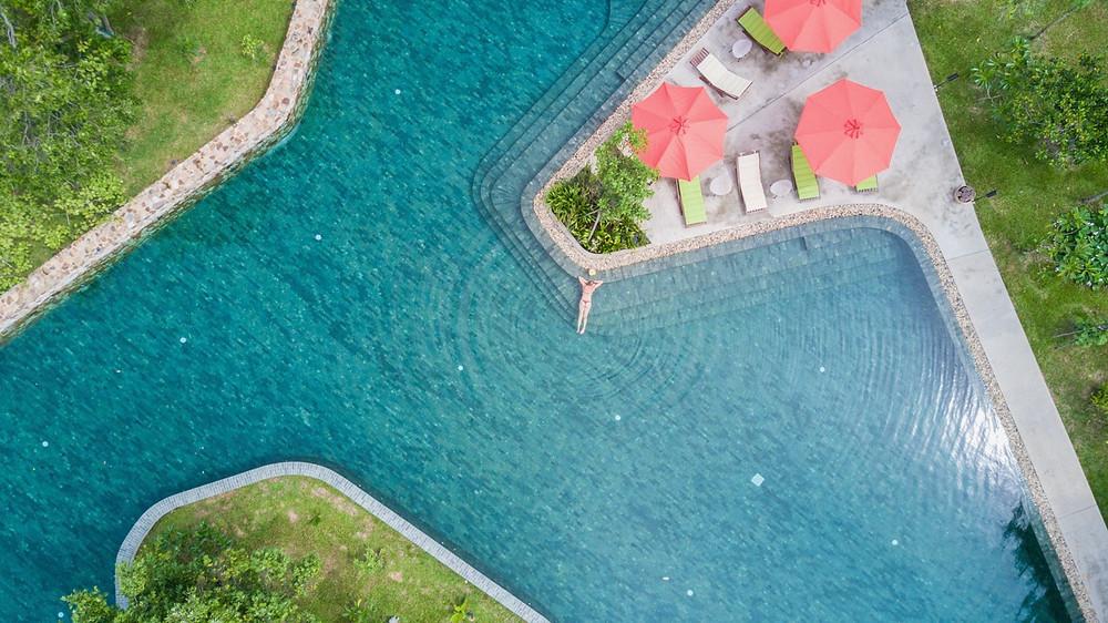 Aerial view of main pool at Templation resort