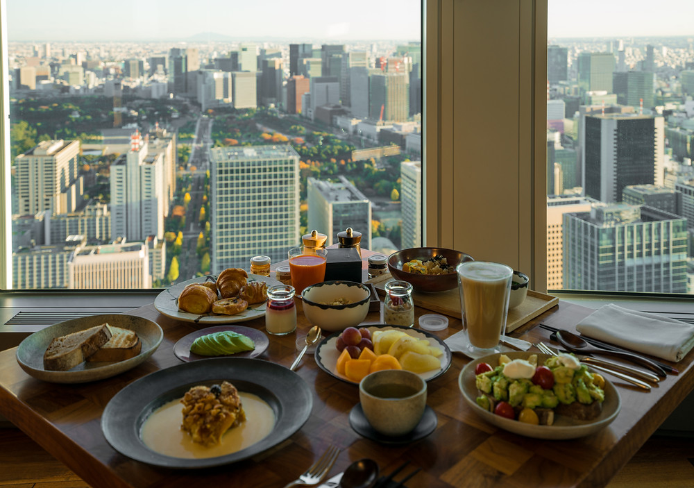 Incredible breakfast spread at the Andaz Hotel in Tokyo City, Japan overlooking the city.