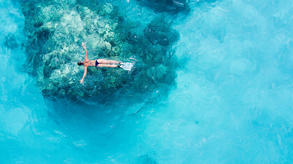 Girl snorkeling and floating in ocean above reef in the Maldives