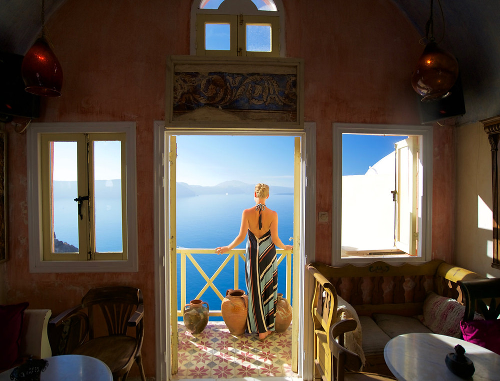 View of the sea from Meteor Cafe Santorini