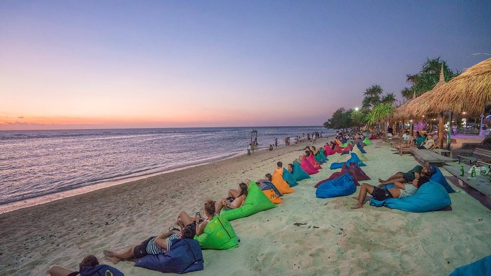 Bean bag beach club on Gili Trawangan in Lombok, Indonesia