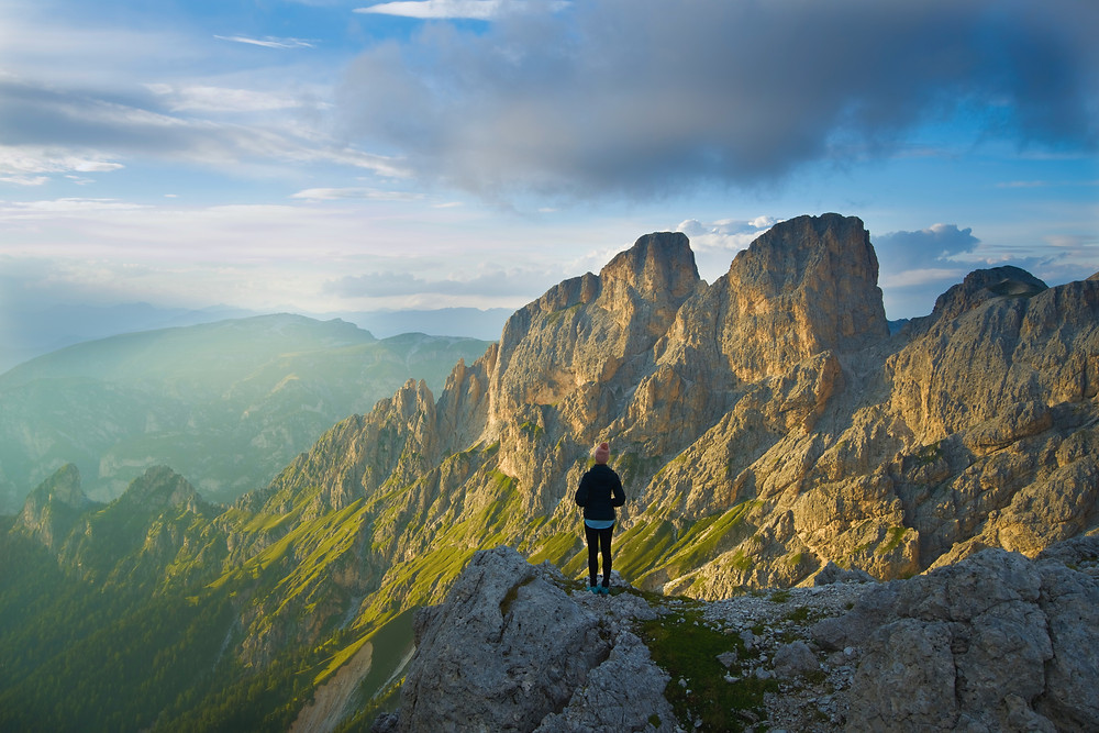 View from the top of Vajolet towers in the Dolomites in Italy