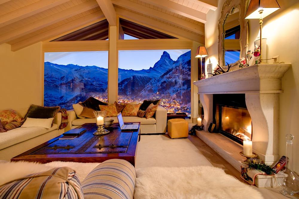 Chalet Grace, Switzerland, Lounge view of Matterhorn Zermatt