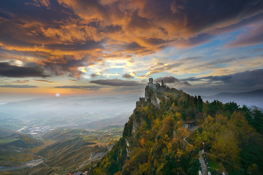 Sunrise through mist from San Marino. A tiny country