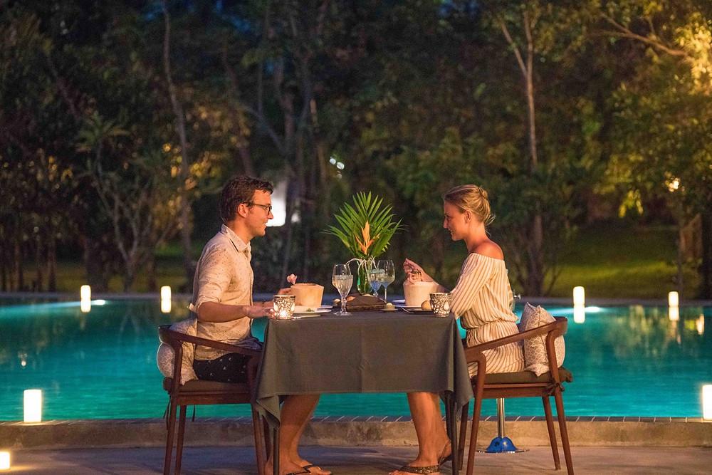 Poolside dinner