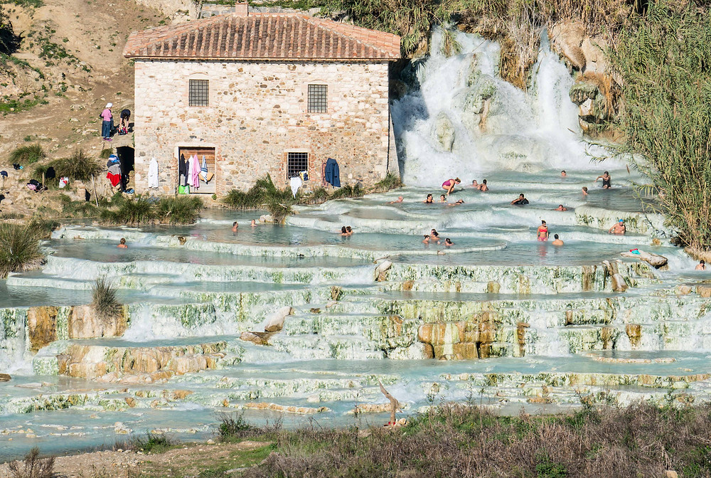 A multilayered hot spring waterfall in Tuscany