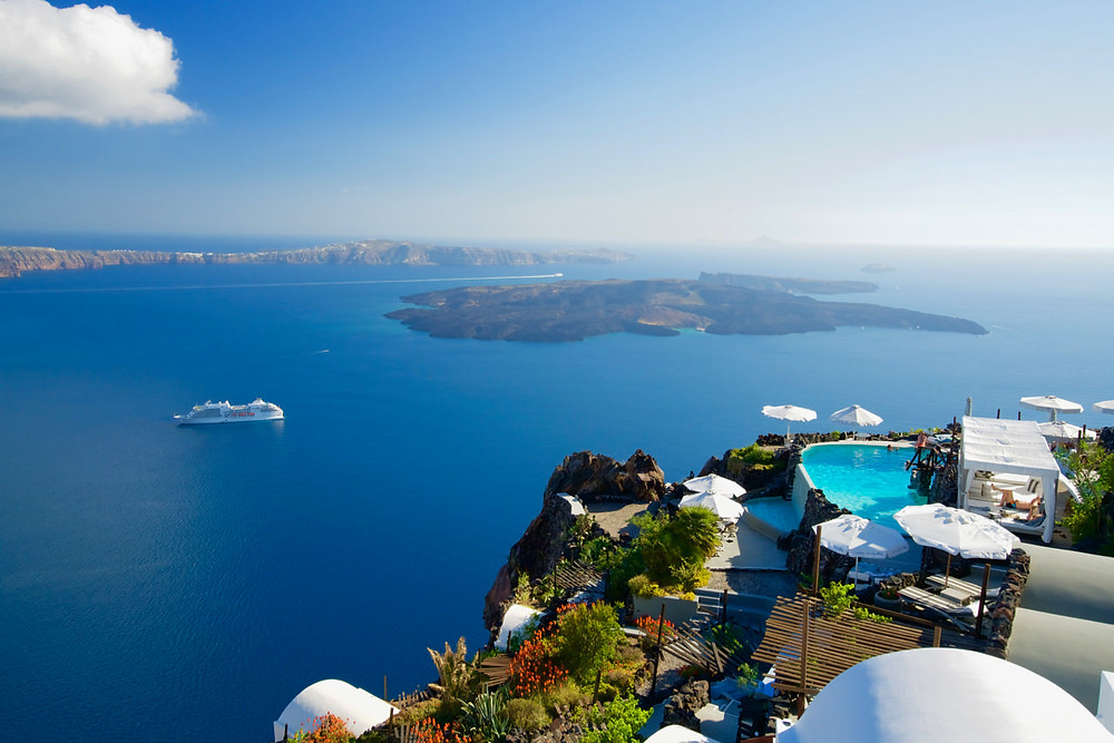 View from an infinity pool on Santorini Island