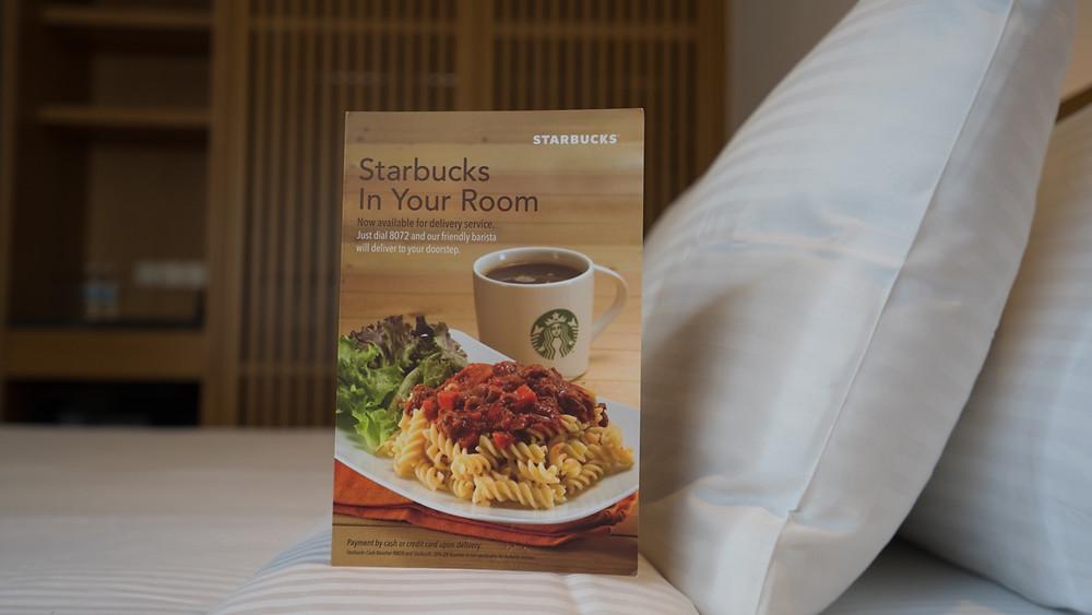 Starbucks room service menu at ANSA hotel KL