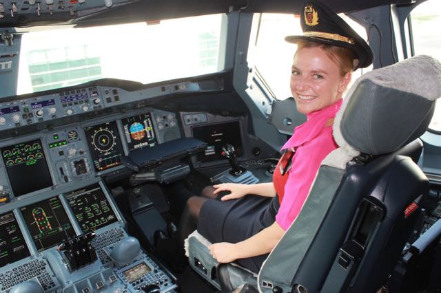 Flight Attendant sitting in First Officer seat on Qantas A380
