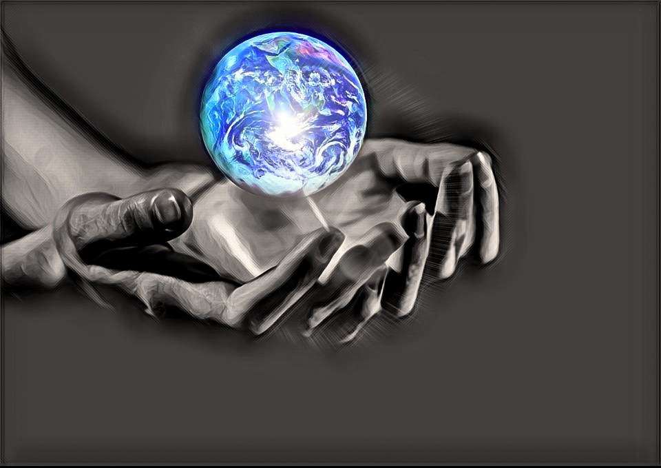 God's Hands Holding the World