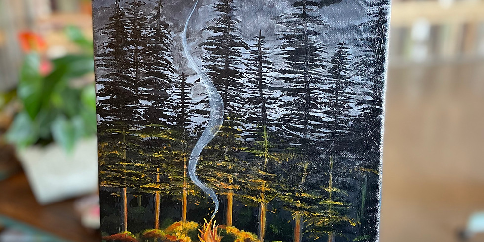 Glass and Canvas Night : Midnight In The Forest