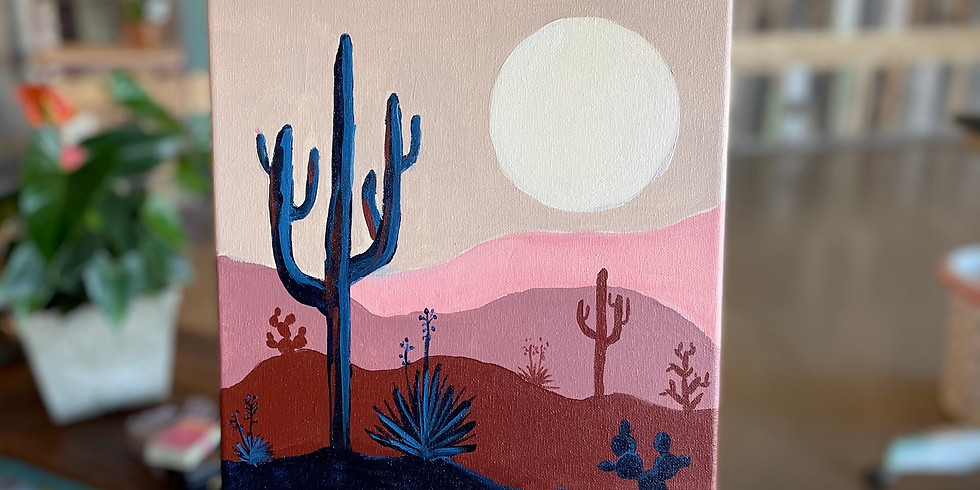 Glass and Canvas Night : Sunset in the Desert