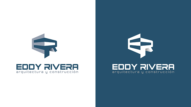 Eddy Rivera Logotpe Design Color Variations white and blue background