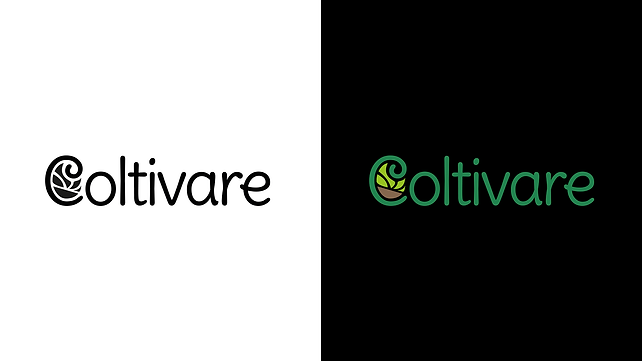Coltivare Logotype Color Variations in black and white and over black background