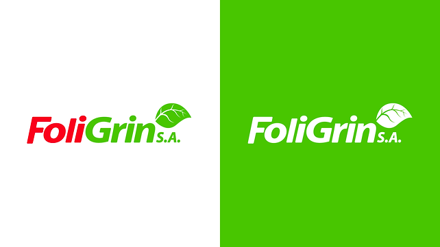Foligrin S.A. Logotype Color Variations white and gren background